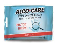 ALCO CARE מגבון ידיים 70% אלכוהול 30 יח'