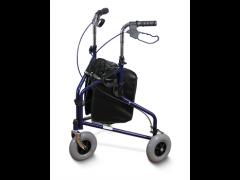 רולטור 3 גלגלים מפלדה עם תיק בגימור כחול   אדום