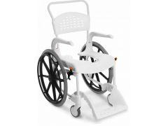 כסא רחצה ושירותים לבן עם גלגלי הנעה עצמית etac clean