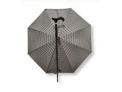 מקל הליכה קל נפתח בלחיצה למטריה איכותית, דגם קלן אפור משבצות
